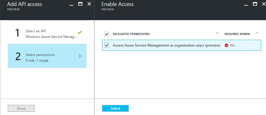 Azure Service Mgmt API permission delegation
