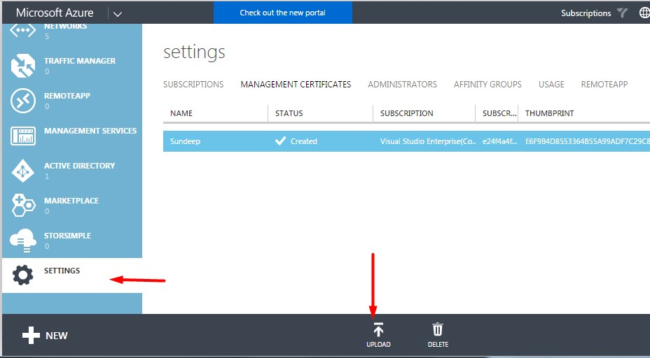 Azure settings page to upload certificate