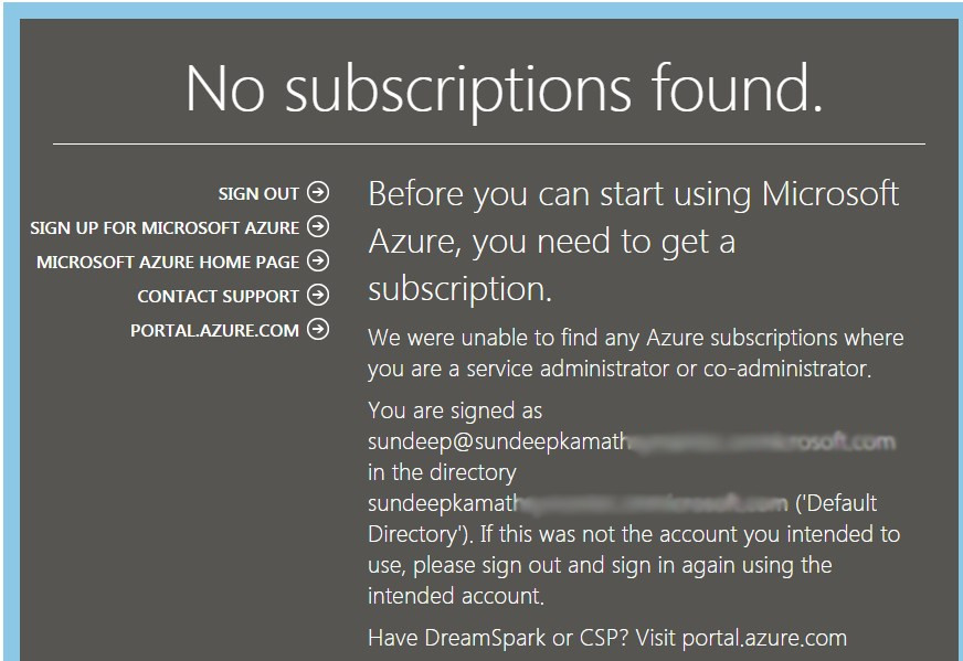 No subscriptions found