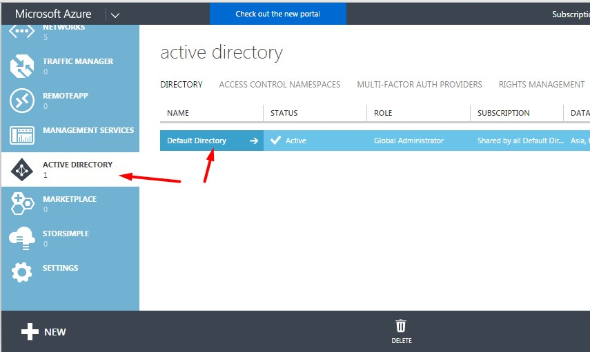 Open Active Directory from the classic portal