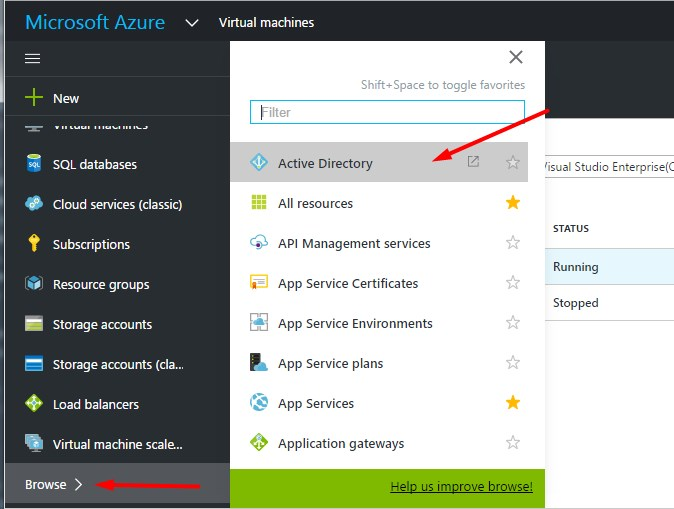 Open Active Directory from new portal