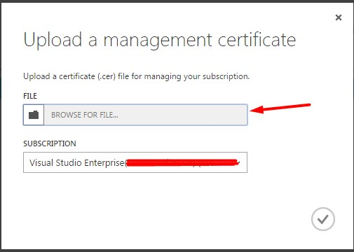 Upload certificate dialog